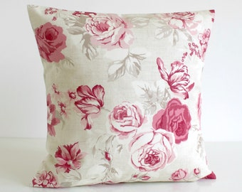 Shabby Chic, Throw Pillow Cover, 16x16 18x18 20x20, Decorative Cushion Cover, Floral Pillow Sham, Sofa Pillow - Country Flowers Raspberry