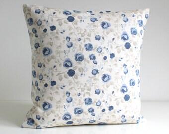 Decorative Pillow Cover, Shabby Chic, 16x16, 18x18, 20x20 Cushion Cover, Flower Pillow Sham, Accent Pillow, Sofa Pillow - Mini Flowers Blue