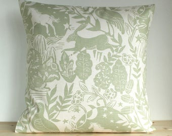 Cotton Pillow Cover, Green accent pillow, Floral pillow cover, Cottage Chic, Shabby Chic Cushion Cover - Rural Sage