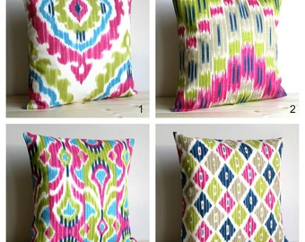 Green ikat pillow | Etsy