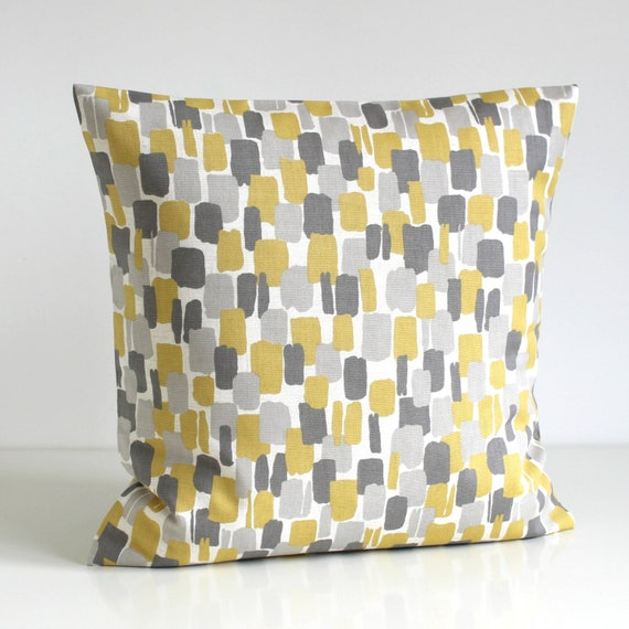 Mustard Pillow Cover Yellow and Gray