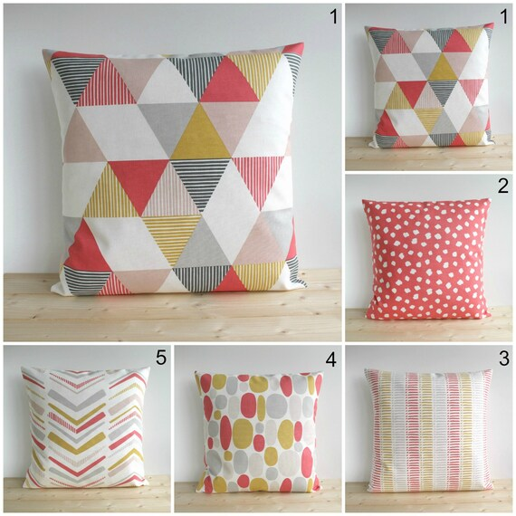 Decorative Pillow Cover Coral And Grey Pillow Cover 40x40 Etsy Impressive 10x10 Decorative Pillows