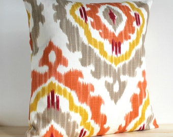 Orange and Gold Ikat Pillow Cover 14x14 Ikat Cushion Cover - Ikat Tribal Spice