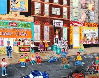 Stickball classic street game in New York City