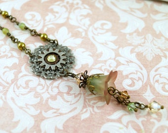 Autumn Flower Necklace, Green and Brown Lucite Flower Necklace