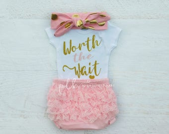 Baby Girl Clothes/ Baby Girl/  Worth the Wait/ Baby Girl Coming Home Outfit/ Baby Gift/ Baby Shower Gift/ Baby Clothes/ Newborn /Baby Shower