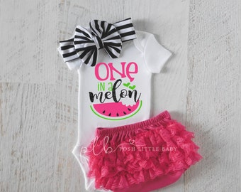 c116920b One in a Melon, Baby Girl Summer Outfit, Summer Outfit for Girl, Pink  Watermelon Baby Outfit, Summer Clothes Baby Girl, Watermelon