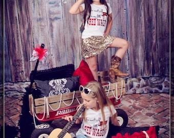 You Can't Ride in My Little Red Wagon Glitter Shirt/Glitter Vinyl/Girls Shirt/Miranda Lambert/Red Wagon/Little Red Wagon/Country/Shirts