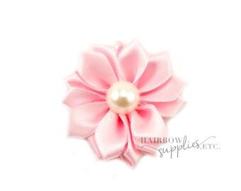 Pink fabric flowers etsy light pink dainty star flowers with pearl 1 12 inch light pink fabric flowers light pink silk flowers light pink hair flowers mightylinksfo