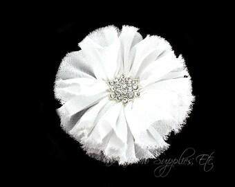 White fabric flower etsy white ballerina chiffon flowers with rhinestone 3 inch white flowers white chiffon flowers white embellishments white headband flowers mightylinksfo