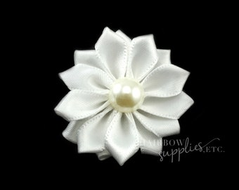 White silk flowers etsy white dainty star flowers with pearl 1 12 inch white fabric flowers white silk flowers white hair flowers white flowers for hair mightylinksfo