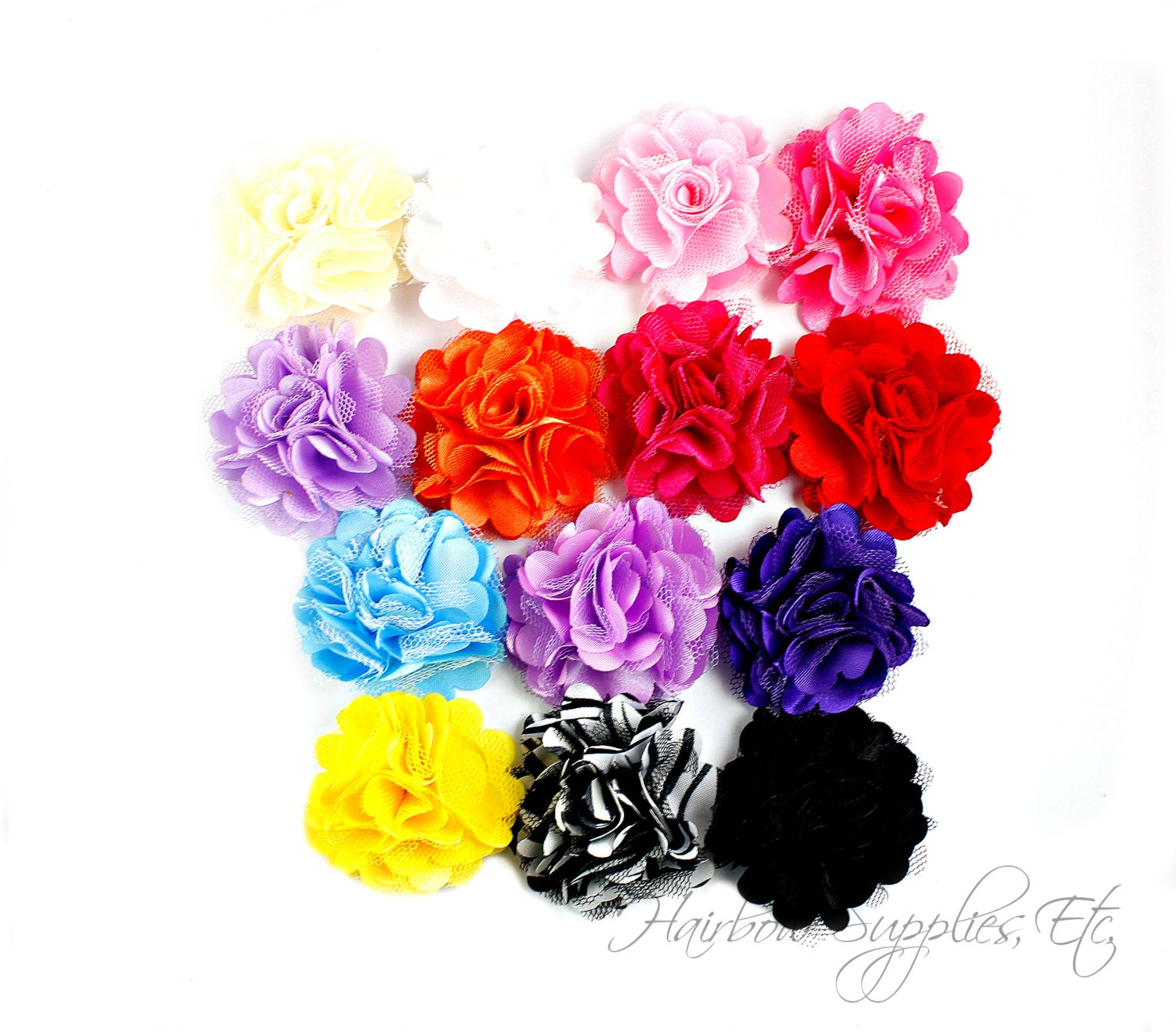 Silk Mesh Flowers Petite Puffs 2 Inch Hair Flowers Tulle Etsy