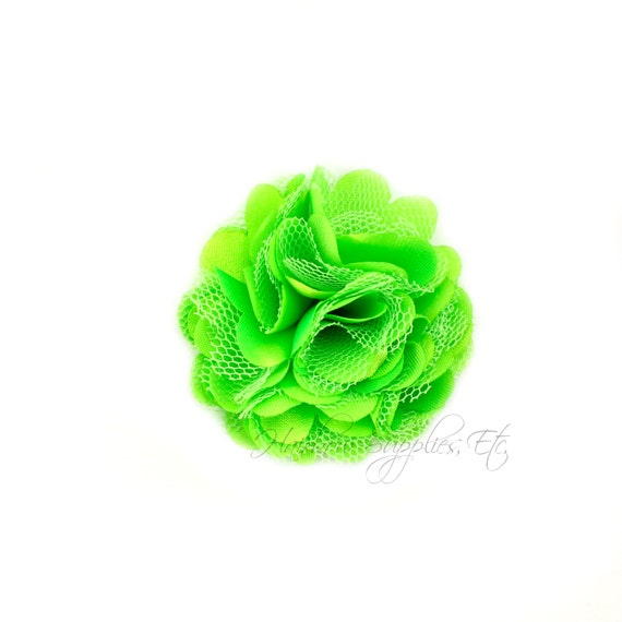 Lime green silk mesh flowers petite puffs 2 inch lime etsy image 0 mightylinksfo