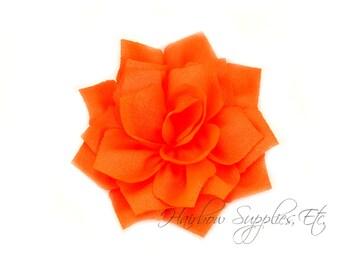 Neon Orange Lotus Flowers 3 inch - Neon Orange Fabric Flowers, Neon Orange Flower Headband Baby, Orange Flower Heads, Orange Headband
