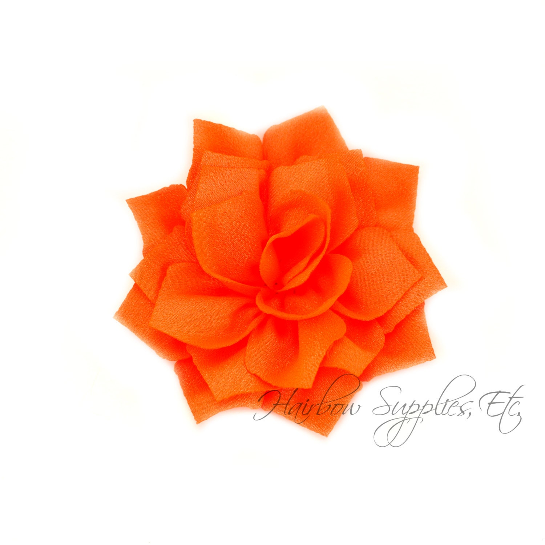 Neon orange lotus flowers 3 inch neon orange fabric flowers etsy zoom izmirmasajfo