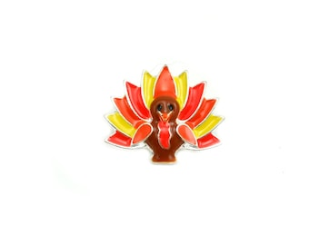 Turkey Rhinestone Button - Thanksgiving Button - Hairbow Supplies, Etc.