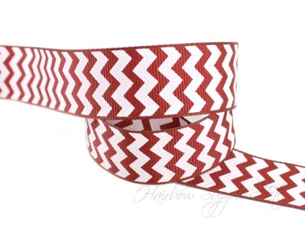 Burgundy Chevron Ribbon 7/8 inch CHBU Grosgrain Ribbon - Hairbow Supplies, Etc.