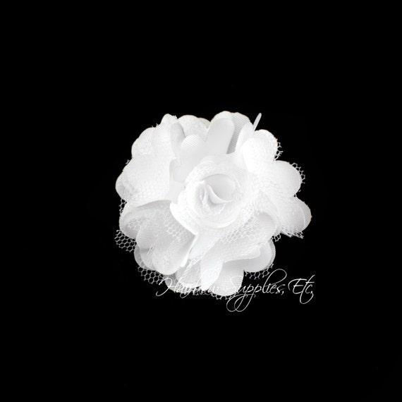 White silk mesh flowers petite puffs 2 inch white flowers etsy image 0 mightylinksfo