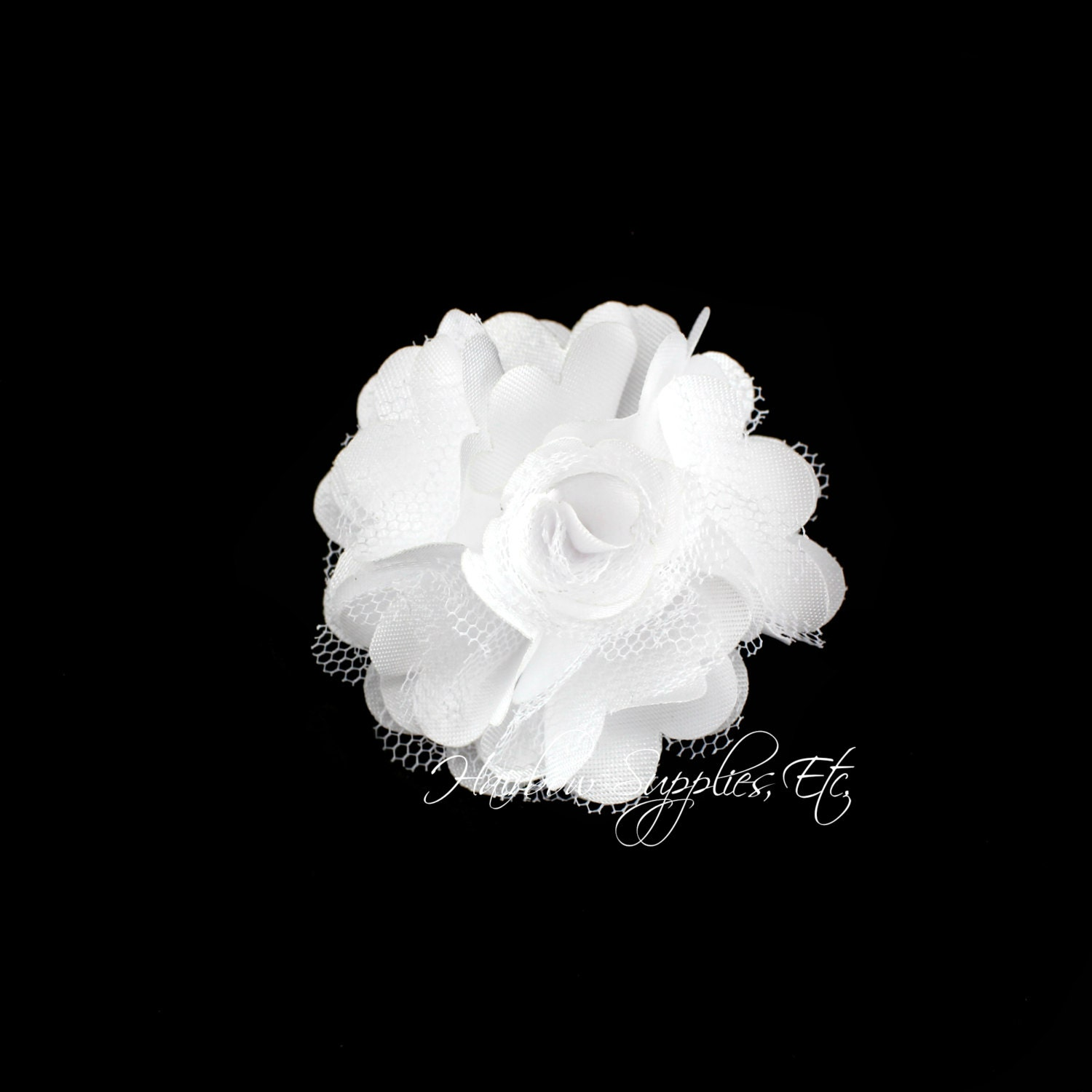 White Silk Mesh Flowers Petite Puffs 2 Inch White Flowers Etsy
