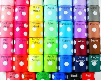 1-1/2 inch Polka Dot Grosgrain Ribbon - Polka Dot Ribbon, Polka Dot Hair Bows, Polka Dot Bow, Ribbon for Bows, Grosgrain Ribbon by the Yard
