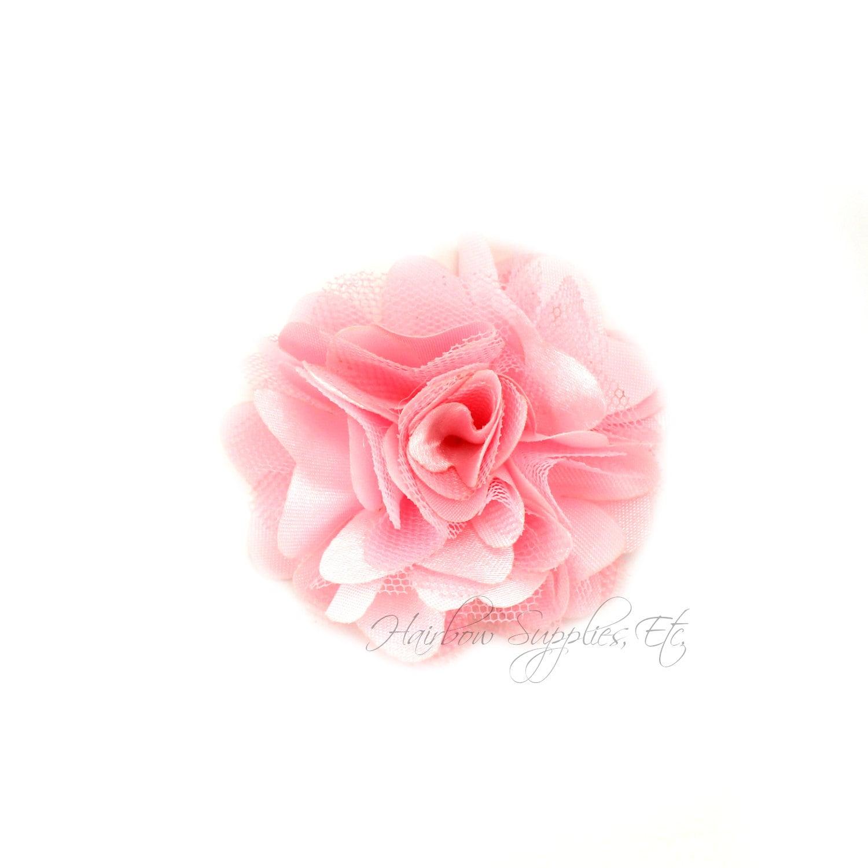 Light Pink Silk Mesh Flowers Petite Puffs 2 Inch Light Pink Etsy