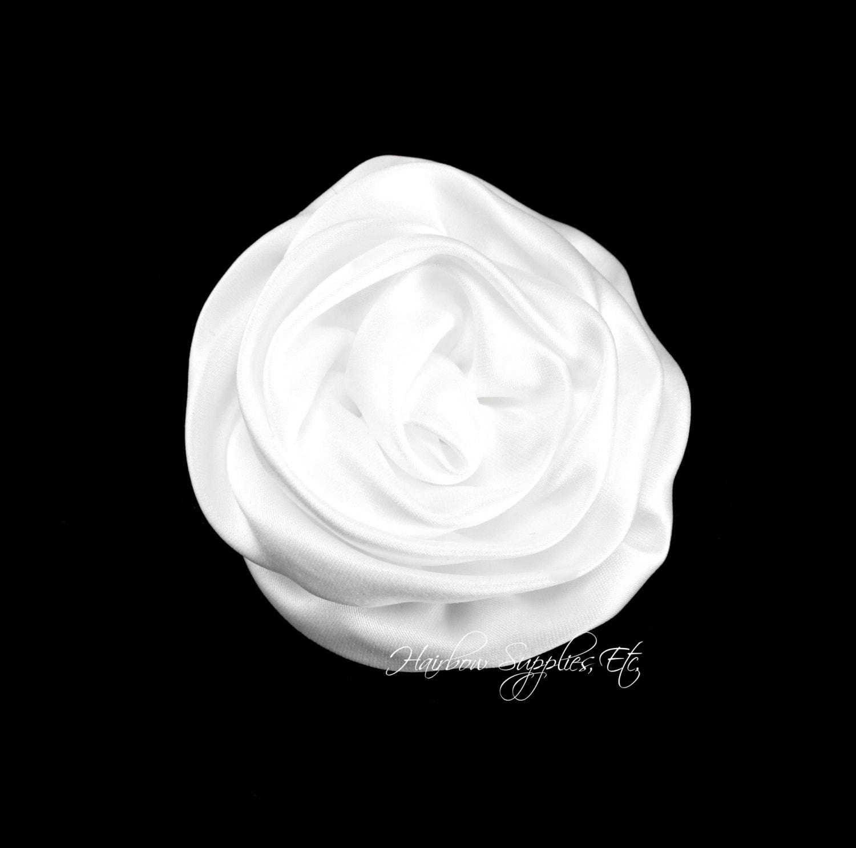 White Elegant Rosette Satin Flowers 3 Inch White Satin Etsy