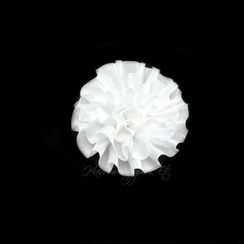 White Ruffle Flower Silk Mini 2 Inch White Fabric Flowers Etsy