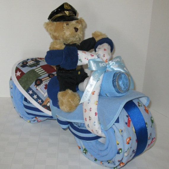 Motorcycle Diaper Cake Police Policeman Police Officer Etsy