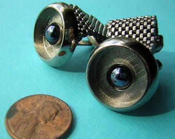 Vintage Cufflinks MESH Hematite Silver Tone - Strong & Sturdy for the Manly Man