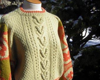 Hand Knit Batwing Wool Sweater Orange & Cream - Aran Fisherman Knit Look Cable Pattern - Large