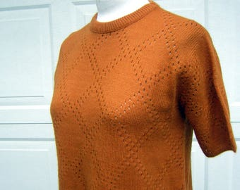 Vintage 60s Sweater Orange Curry Pullover Short Sleeve Poorboy Style - Open Pointelle Knit S to M