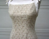 Curvy party Dress Nude Lace Overlay Vintage 60s Ivory Tan - Small to XS