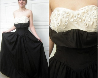 Vintage 50s Strapless Ball Gown Prom Party Dress Black Taffeta Eyelet  Rhinestone Daisies Tiered Bustle Tail Back CLEARANCE 4fdb72fc5