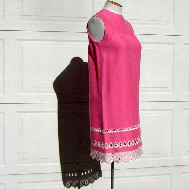 55efcb7c70f5 Pink Embroidered Lace Sun Dress SunDress Shift Vintage 60s | Etsy