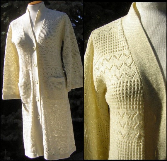 Vintage 70s Sweater Coat Dress Ivory Knit Long Car