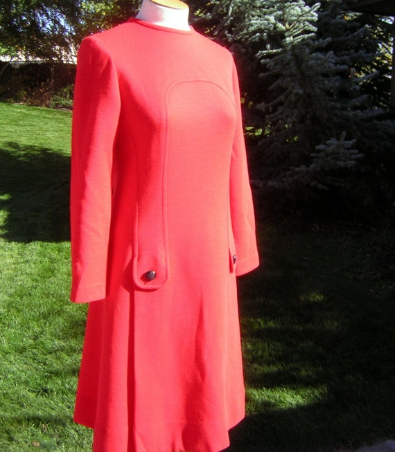 MOD Vintage 60s Dress Minimalist Red Wool Knit Dre