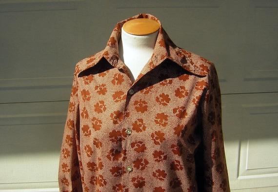 Vintage 70s Shirt Disco Unisex Rust Dotty Print Po