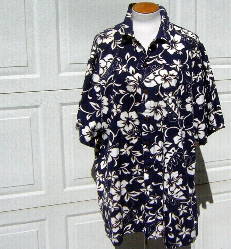5ece0e1edfd44 2XL Hawaiian Shirt Navy Blue Hibiscus Aloha Print Vintage 90s
