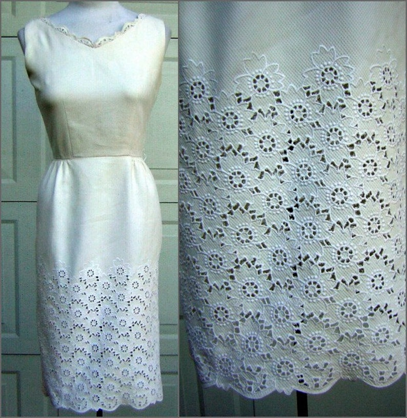 Size Small Lovely Eyelet Open Work White Cotton Lace Dress R/&K Originals Casual Classic Fresh Crisp Waffled Pique