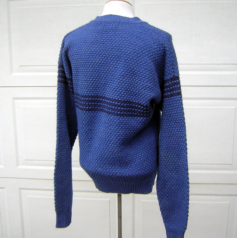 Vintage Blue Sweater 70s Old School Cool McGregor Preppy Unisex V Neck Pullover washable M