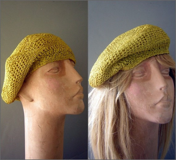 UNISEX Beret Hat Crocheted Apple Green Chartreuse
