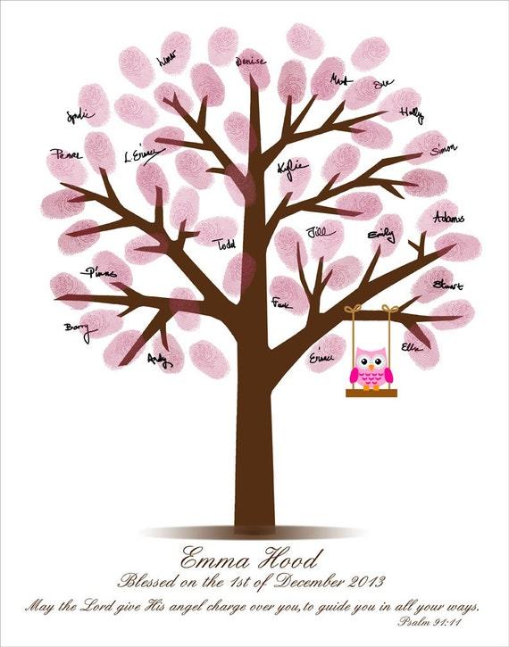 Baby Shower Fingerprint Tree Baby Shower Guestbook Etsy