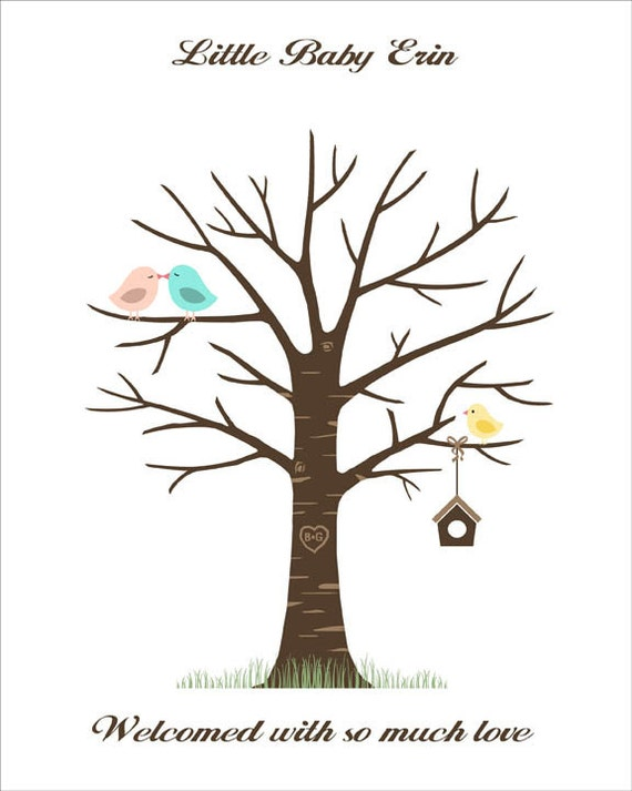 baby shower fingerprint tree thumbprint guestbook