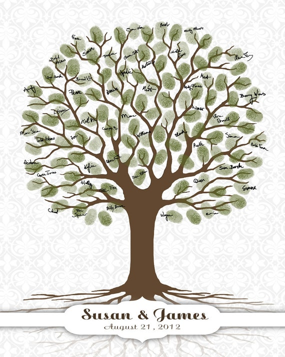 wedding guest book fingerprint tree thumbprint tree
