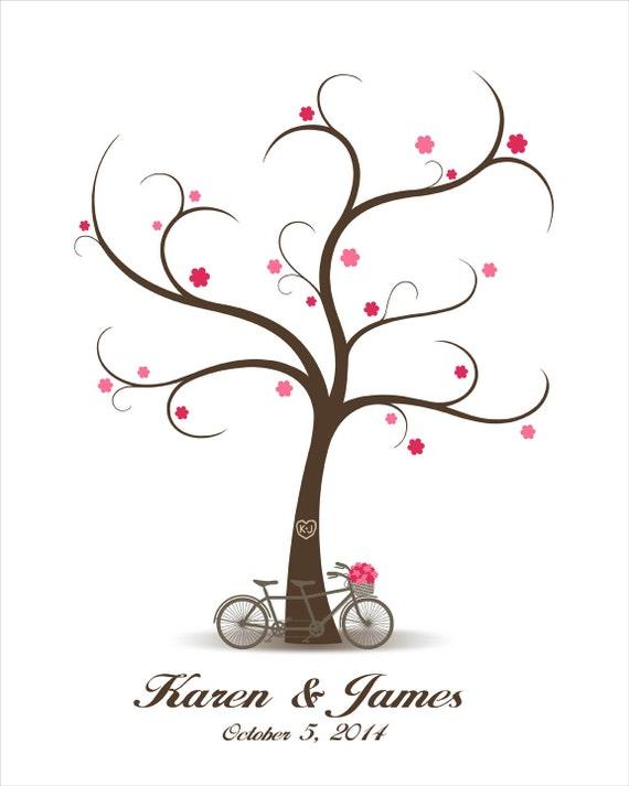 Hochzeit Baum Gastebuch Mit Tandem Fahrrad Fingerabdruck Signatur Hochzeit Gastebuch Fingerabdruck Gastebuch Baum Digitale Druckvorlage