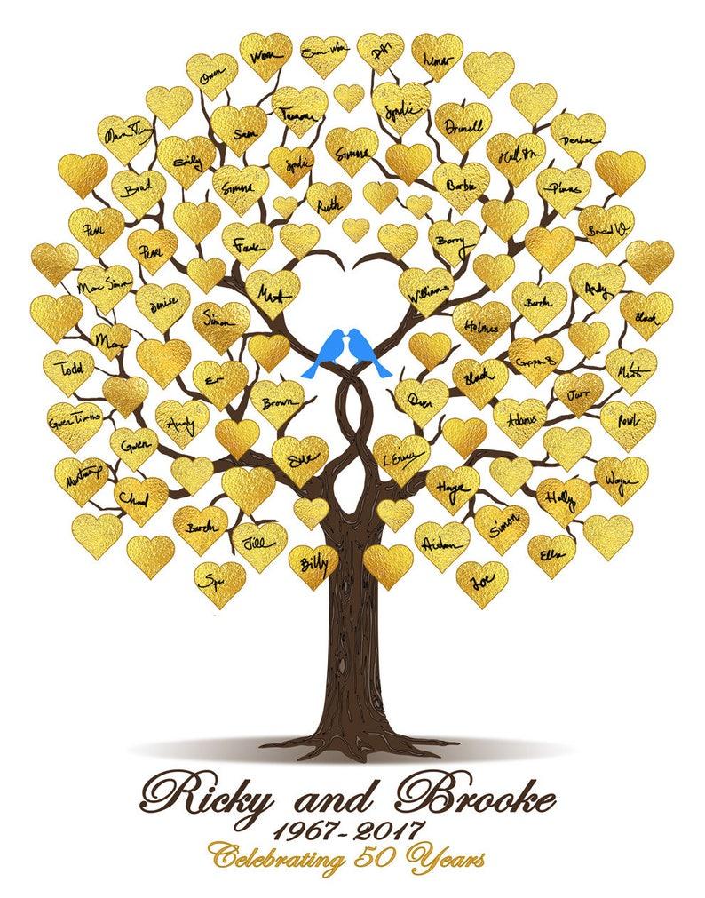 50th Anniversary Gift 50th Wedding Guestbook Personalized Gold Anniversary Gold Wedding Guest Book Anniversary Tree DIGITAL PRINTABLE FILE