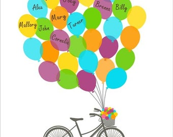 Teacher Thank You Gift, Teacher Appreciation, Personalized Gift for Teacher, Kindergarten, bicycle and balloons - DIGITAL PRINTABLE JPEG