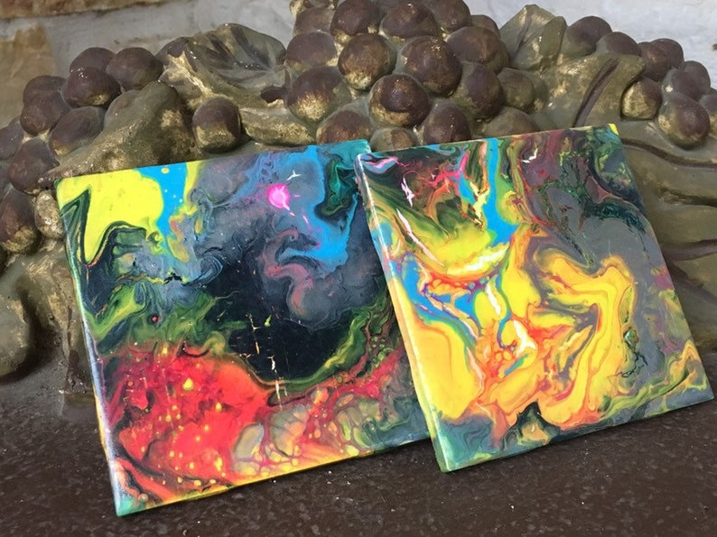 Hand painted acrylic pour square ceramic drink tile coasters multi color  colorful modern art gift set of 2, 4