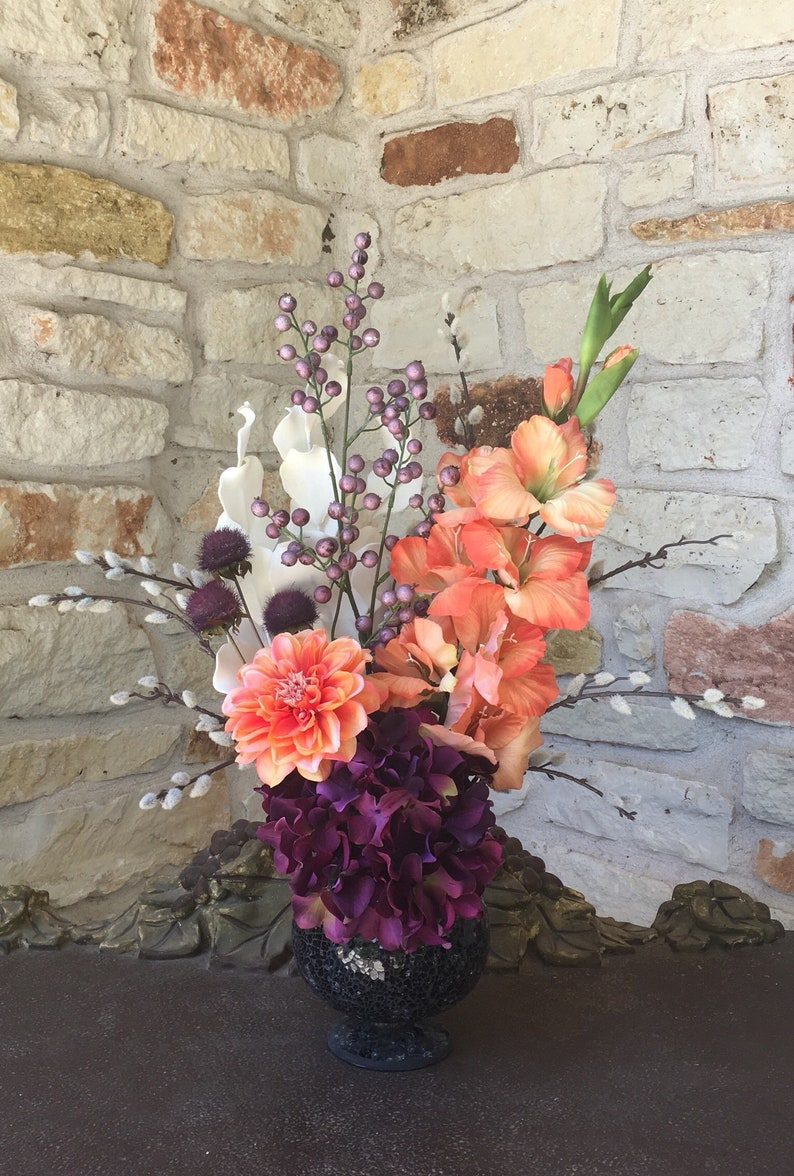 193003225348 Purple and Green Floral Arrangement Hydrangea Gladiola Mum | Etsy
