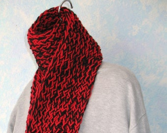 Winter scarf, black, cherry red